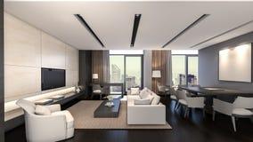 Representación oriental sala de estar/3D Imagen de archivo libre de regalías