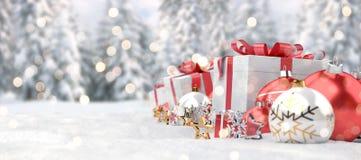 Representación roja del fondo 3D de las chucherías y de los regalos de la Navidad ilustración del vector