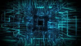 Representación visual del fondo 3d del diseño del lazo del wireframe azul libre illustration