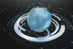 representaci?n 3d, datos y gr?ficos de la tierra con los elementos de HUD ilustración del vector