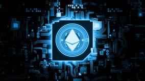 representaci?n 3D de la moneda ETH del ethereum en placa de circuito del ordenador Tecnolog?a crypto principal de la cadena de bl fotografía de archivo libre de regalías