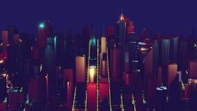 representaci?n de la ciudad 3d con las l?neas y los elementos digitales Rascacielos de Digitaces Concepto video de la tecnolog?a almacen de video