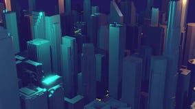 representaci?n de la ciudad 3d con las l?neas y los elementos digitales Rascacielos de Digitaces Concepto video de la tecnolog?a almacen de metraje de vídeo