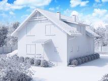 representación 3d de la casa suburbana, de dos pisos privada en un st moderno Imágenes de archivo libres de regalías