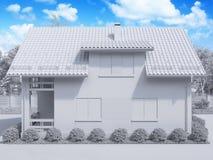 representación 3d de la casa suburbana, de dos pisos privada en un st moderno Fotografía de archivo libre de regalías