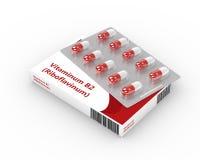 representación 3d de las píldoras de la vitamina B2 en paquete de ampolla Imagenes de archivo