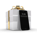 representación 3d del smartphone con la caja de regalo sobre blanco Imagen de archivo