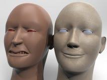 Representación de la cólera y del hapiness 3d Imagen de archivo libre de regalías