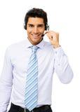 Representant Talking On Headset för appellmitt Arkivbild