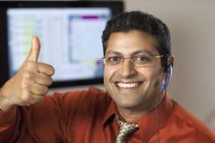 Representante bem sucedido do serviço de atenção a o cliente imagens de stock