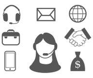 Representante de serviço ao cliente, centro de atendimento, ícone do serviço ao cliente, operador de telecomunicações, assistente ilustração stock