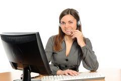 Representante do cliente com auriculares Fotografia de Stock Royalty Free