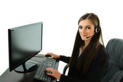 Representante do cuidado do cliente no computador Imagem de Stock
