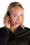 Representante do serviço ao cliente que ajuda no telefone Foto de Stock