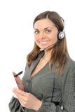 Representante fêmea novo do serviço de atenção a o cliente fotografia de stock