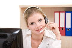 Representante feliz do serviço de atenção a o cliente imagens de stock