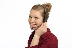 Representante femenino del servicio de atención al cliente Fotografía de archivo libre de regalías