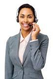 Representante hermoso Wearing Headset del centro de atención telefónica Foto de archivo