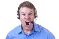 Representante irritado do serviço ao cliente Imagens de Stock