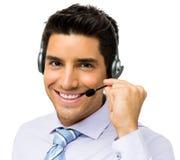 Representante Talking On Headset del centro de atención telefónica foto de archivo