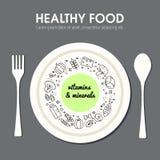 Representação do fundo do alimento de Healty Foto de Stock