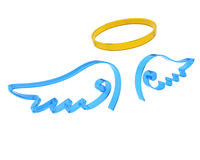 Representation of angel wings and halo. 3d render of representation of angel wings and halo vector illustration