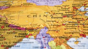 China on the Map. Representation of China on a map stock images