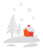Representation with Christmas house Royalty Free Stock Images