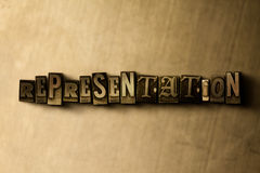 REPRESENTATION - close-up of grungy vintage typeset word on metal backdrop. Royalty free stock illustration.  Can be used for online banner ads and direct mail Stock Image
