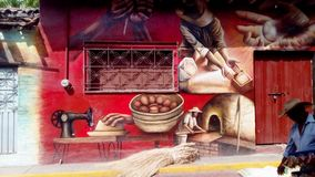 Beautiful painting by Julio Cesar Navarro Torres in Tlapehuala, Guerrero, Mexico. Representation of the culture in the region of Tierra Caliente by a mural Stock Photography