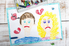 Representation of divorce. Representation of marriage break up or divorce - colorful drawing royalty free stock photography