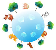 A representation of the earth with animals and plants Stock Photos
