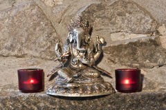 Representation of God Ganesh, statue made from three metals, India Royalty Free Stock Photo