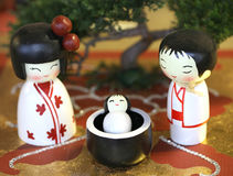 Representation in the Japanese style crib with statuettes Stock Photo