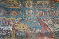 Representation of the Last Judgment on the west wall at Voronet monastery, Bucovina Stock Image