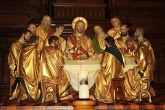 Representation of the Last Supper with Jesus and apostles Royalty Free Stock Photography