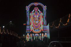 Representation of Lord Balaji with led lights, Navaratri Festival royalty free stock images