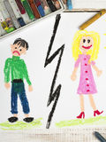 Representation of marriage break up or divorce. Colorful drawing Stock Image