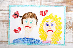 Representation of marriage break up or divorce. Colorful drawing royalty free stock photos