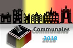 Representation of municipal elections 2018 in Belgium Royalty Free Stock Photography