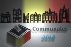 Representation of municipal elections 2018 in Belgium stock illustration
