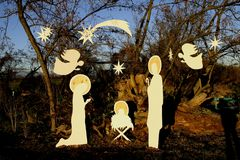 Representation of the nativity in the park. Representation, with wooden silhouettes, of the nativity scene in the park royalty free stock images