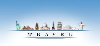 Representation online travel monuments Stock Image