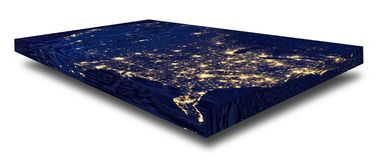 Representation of a rectangular flat United States. Representation of a rectangular flat Earth model - city lights of the United States on white background with royalty free stock photography