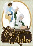 Representation of Religious Muslim Origin of Eid al-Adha, Vector Illustration. Commemorative poster for Eid al-Adha -written in Arabic calligraphy-: the stock illustration