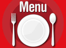 Representation of a restaurant menu or bar with a plate fork and Royalty Free Stock Image