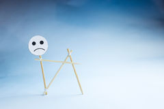 Representation of sadness. Abstract representation of the sadness with toothpicks Royalty Free Stock Photos