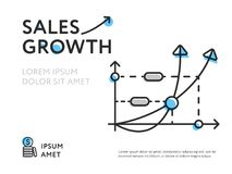 Representation of sales increase in graphic. Minimalist design of colorful graphic chart showing sales growth with space for text on white Stock Photo