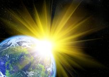 Representation of the sun and the earth Royalty Free Stock Photos