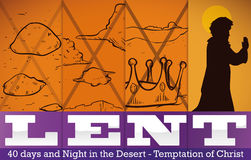 Representation of the Three Christ`s Temptations in Lent, Vector Illustration Stock Image